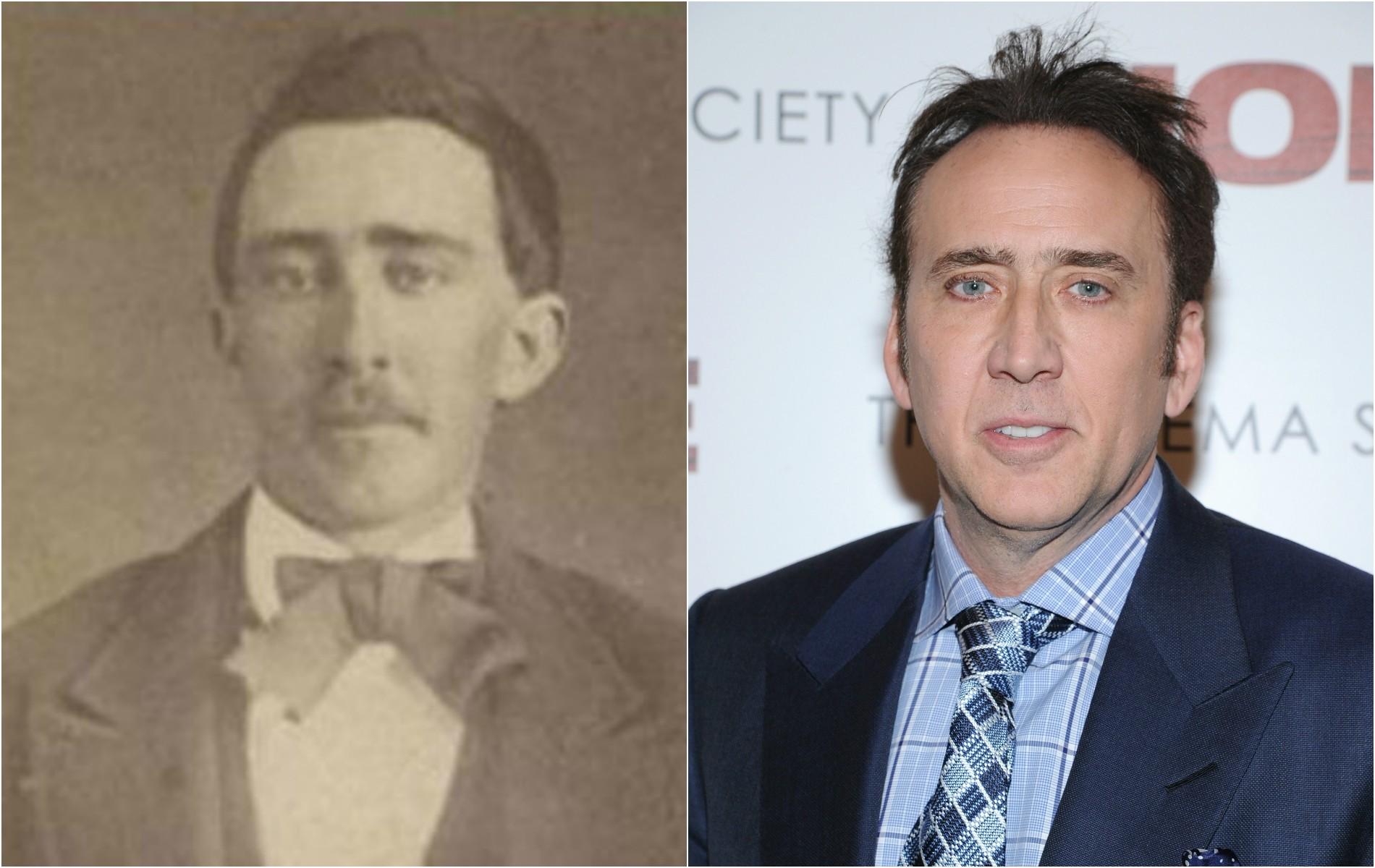 Nicolas Cage e este homem anônimo do século 19. (Foto: Reprodução e Getty Images)