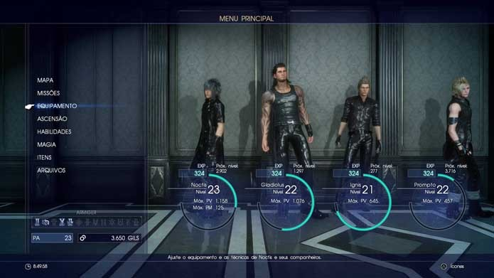 Vá até o menu principal de Final Fantasy XV (Foto: Reprodução/Murilo Molina)