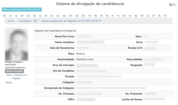 Ao clicar sobre um candidato, o usuário visualiza informações importantes de sua candidatura, como partidos cuja coligação é formada e limite de gastos de campanha  (Foto: Reprodução/Paulo Finotti)
