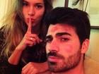 Ex-BBB Adriana enche Rodrigão de beijos