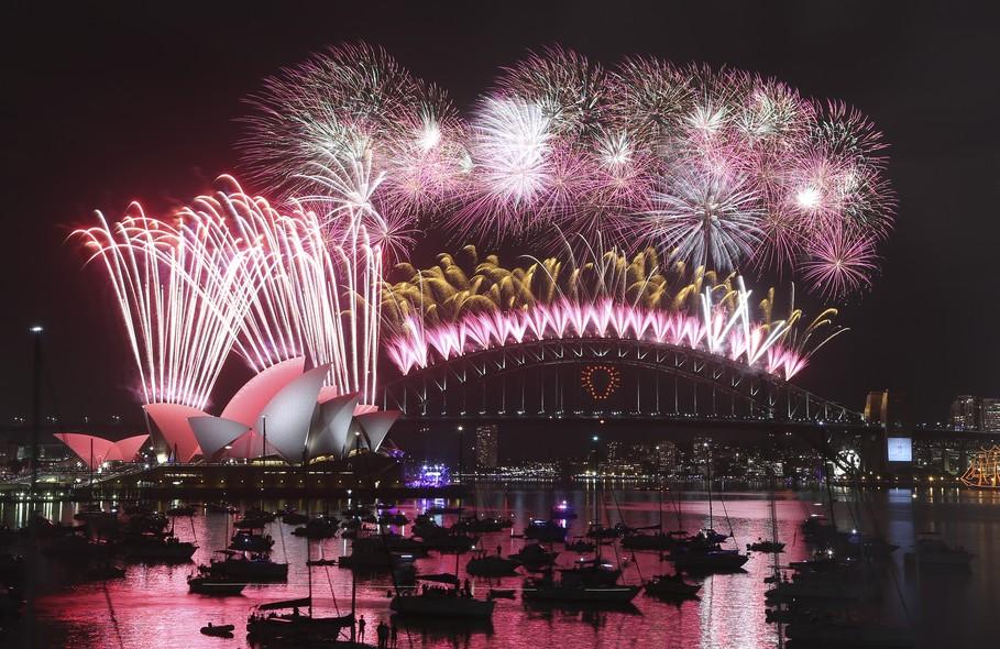A chegada de 2015 em Sydney, na Austrália