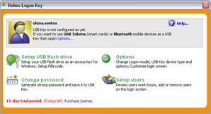interface do Rohos Logon Key