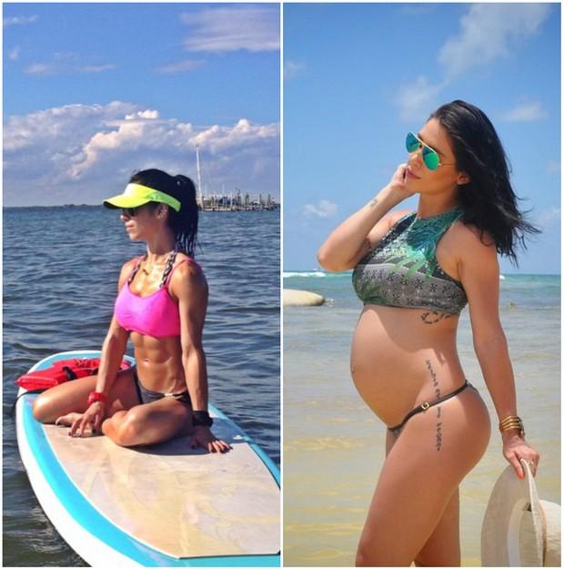 Bella Falconi antes de engravidar e agora, grávida (Foto: Reprodução/Instagram)