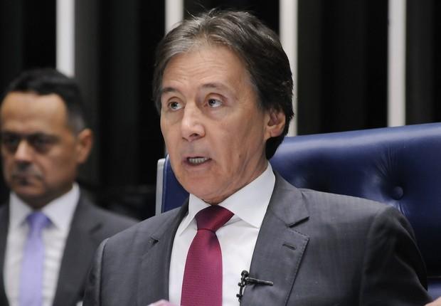 O presidente do Senado Federal, senador Eunício Oliveira (PMDB-CE), em sessão ordinária (Foto: Waldemir Barreto/Agência Senado)