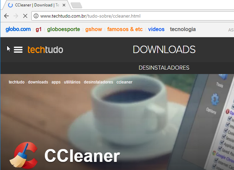 Biaxando CCleaner no TechTdudo Downloads (Foto: Edivaldo Brito/TechTudo)