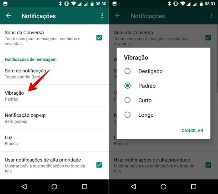 Personalizando vibração da notificação (Foto: Helito Bijora/TechTudo)