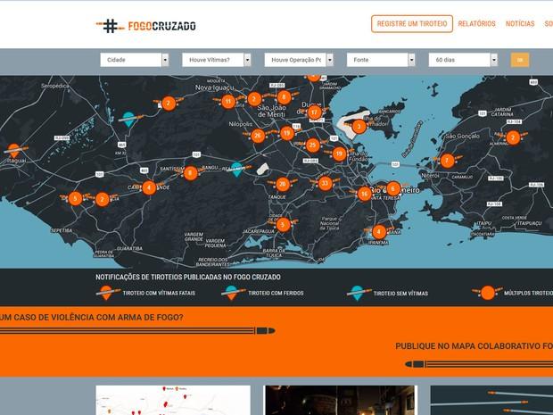 Aplicativo Fogo Cruzado mapeia, em tempo real, os locais onde acontecem tiroteios no Rio de Janeiro (Foto: Reprodução)
