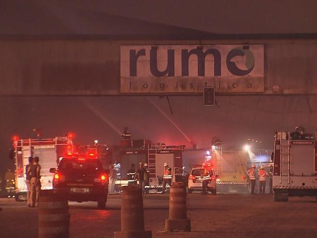 Bombeiros de Santos e outras cidades da região combateram as chamas (Foto: Reprodução / TV Tribuna)