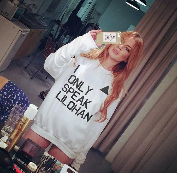 A atriz Lindsay Lohan com o aguasalho que faz piada com seu vídeo polêmico (Foto: Reprodução)