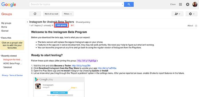 Usuário precisa entrar em grupo do Instagram no Google para baixar o beta (Foto: Reprodução/Elson de Souza)