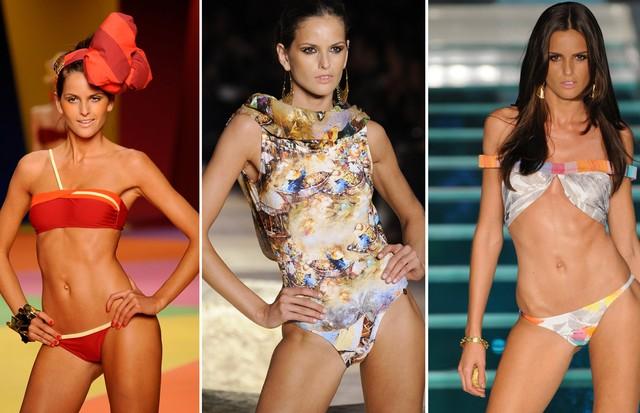 Izabel Goulart em entradas de moda praia nas passarelas nacionais: Salinas (2009), e Agua de Coco (2009 e 2010) (Foto: Getty Images)
