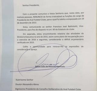 Avaí renúncia Nilton Machado (Foto: Reprodução)