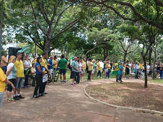 Cerca de 150 pessoas pediram o  impeachment da presidente Dilma Rousseff em Bauru (Foto: Paola Patriarca/G1)