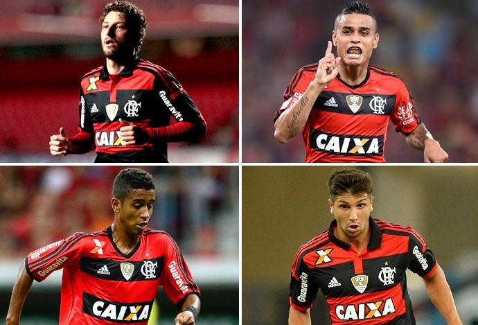 Montagem Flamengo (Elano, Everton, Gabriel e Mugni) (Foto: Editoria de arte)