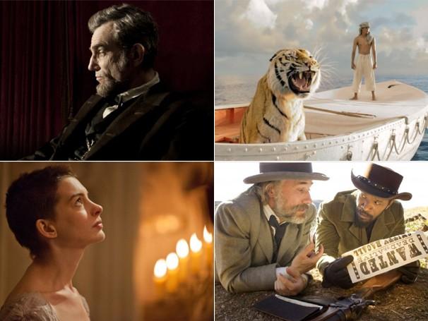 Entre os indicados deste ano a melhor filme, estão 'Lincoln', 'A Aventuras de Pi', 'Os Miseráveis' e 'Django' (Foto: Divulgação / Reprodução)