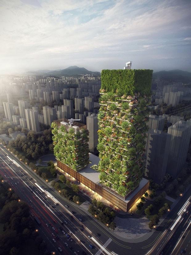 Primeira floresta vertical asiática produzirá 60 kg de oxigênio por dia (Foto: Divulgação)