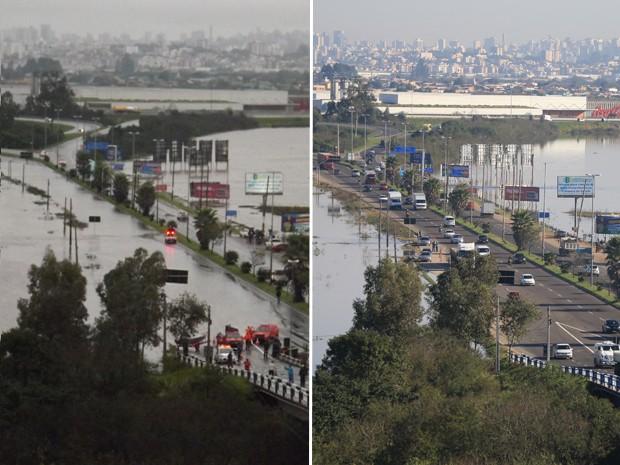 Montagem sobre fotos chuva enchente Cachoeirinha (Foto: Montagem sobre fotos)