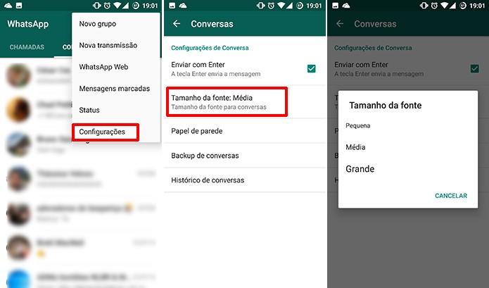 WhatsApp pode ter tamanho de fonte mudada no Android (Foto: Reprodução/Elson de Souza)