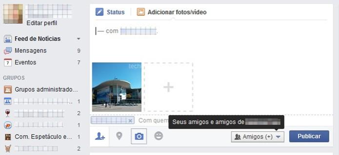 Ao adicionar uma foto no Facebook os amigos de contatos marcados também podem ver a imagem (Foto: Reprodução/Barbara Mannara)