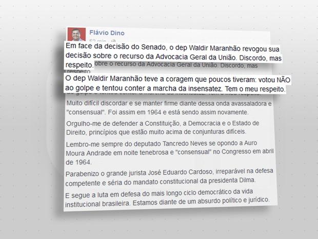 Flávio Dino discorda, mas respeita medida de Waldir Maranhão (Foto: G1)