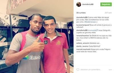 Daniel em foto com Dedé na época em que Romulo defendia o Vasco (Foto: Reprodução/Instagram)