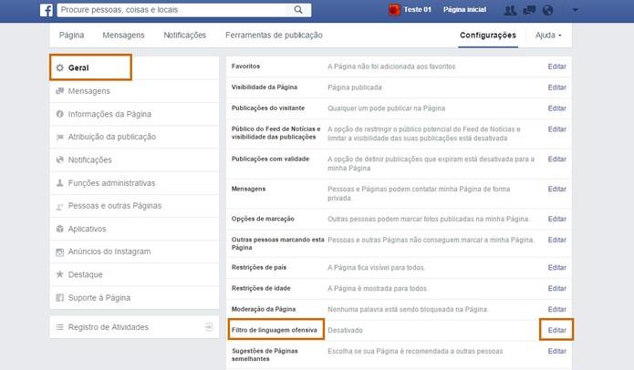 Encontre o filtro de linguagem nas configurações do Facebook (Foto: Reprodução/Barbara Mannara)