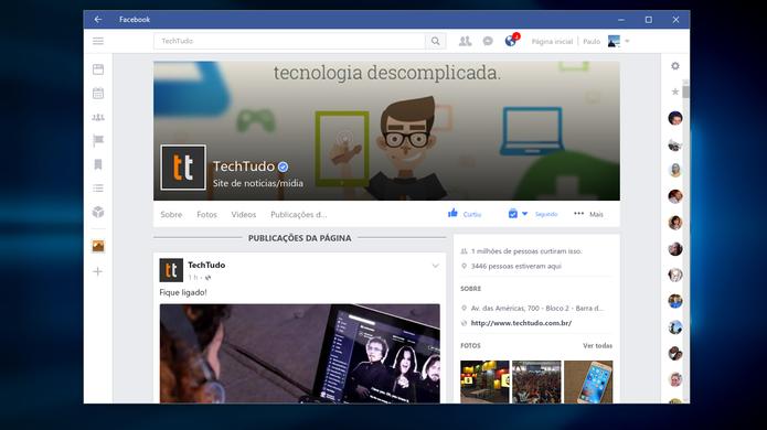 Facebook para Windows 10 tem reações e outras funções recentes (Foto: Reprodução/Paulo Alves)