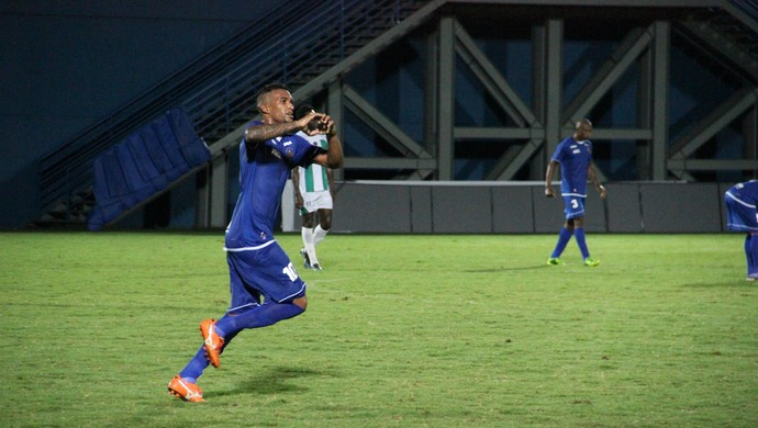 Lídio comemora gol que deu a vitória do Nacional (Foto: Marcos Dantas)