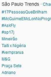 Trending Topics em SP às 17h09 (Foto: Reprodução/Twitter.com)