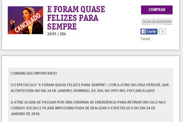 Comunicado sobre o cancelamento da peça de Heloísa Périssé, no Rio de Janeiro (Foto: Reprodução/Internet)