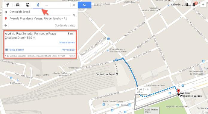 Visualizando uma rota a pé com o Google Maps (Foto: Reprodução/Marvin Costa)