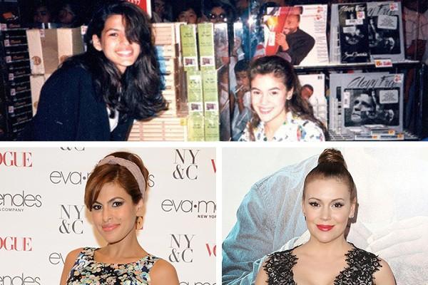 Eva Mendes e Alysa Milano em 1989 e hoje em dia (Foto: Twitter / Getty Images)