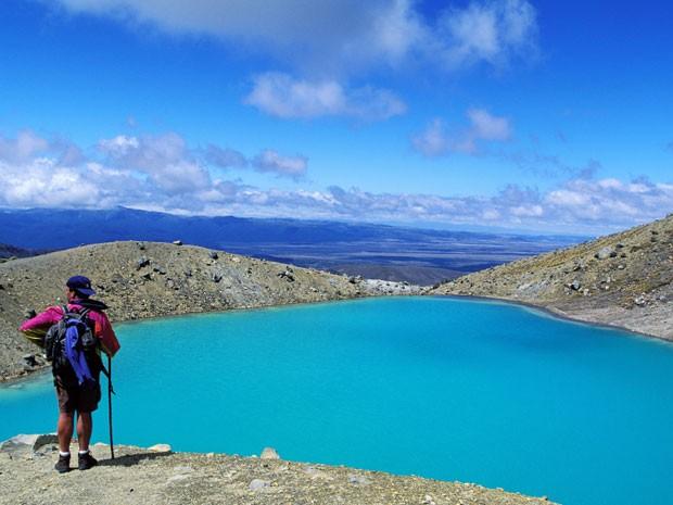 Um dos lagos esmeralda da região do vulcão Tongariro, na Nova Zelândia (Foto: Gardel Bertrand/hemis.fr/AFP)