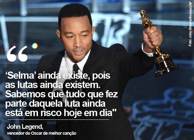Ao receber o prêmio de melhor canção, John Legend, ao lado de Common, fez uma forte defesa pela igualdade racial (Foto: John Shearer/Invision/AP)
