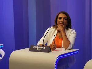Cida Ramos no debate da TV Cabo Branco, em João Pessoa (Foto: Daniel Sousa/G1)