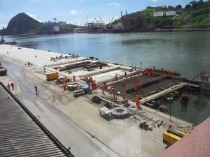 Cais do Porto de Vitória passam por obras de melhoria desde 2012 (Foto: Leandro Nossa/G1 ES)