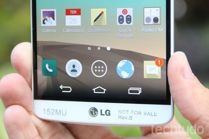 Personalização da LG traz Android com poucas alterações (Foto: Lucas Mendes/TechTudo)