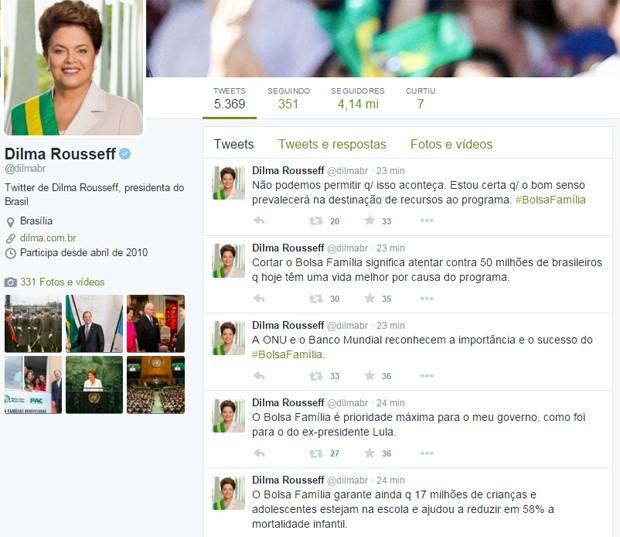 A presidente Dilma Rousseff utilizou o Twitter para criticar a possibilidade de corte no orçamento do Bolsa Família (Foto: Reprodução/Twitter)