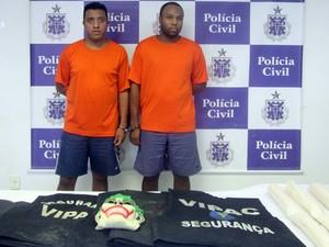 Dupla foi presa suspeita de violar bancos na Bahia (Foto: Divulgação / Polícia Civil )