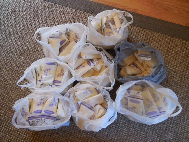 Parte do leite materno congelado doado por Amy Bormann: ao todo, americana doou mais de 100 litros (Foto: Amy Bormann/Arquivo pessoal)