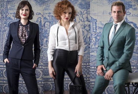 O estilo de Mayana Neiva, Maria Eduarda e Henri Castelli, que estão no elenco da novela  (Foto: TV Globo/ César Alves)