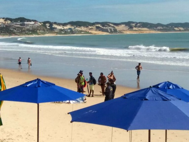 Maré estava baixa no momento do afogamento em Ponta Negra (Foto: Clayton Carvalho/G1)