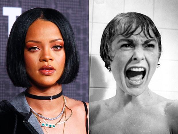 Rihanna (à esquerda), em foto de 12 de fevereiro de 2016 e Janet Leigh como Marion Crane na cássica cena do chuveiro em 'Psicose' (1960); na série 'Bates Motel', cantora vai reviver o papel (Foto:  Andy Kropa/Invision/AP e Divulgação)
