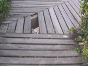 Estrutura de madeira dá acesso aos restaurantes da praça no Centro de Boa Vista (Foto: Arquivo pessoal)