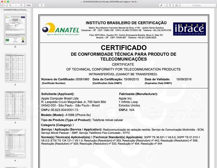 Certificado de conformidade técnica dos novos iPhones (Foto:Reprodução/MacMagazine)