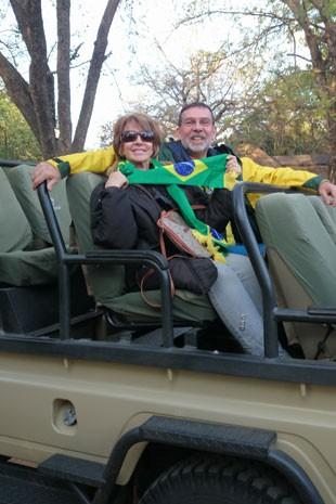 Mário Henrique e Lúcia Helena em sua viagem pela África do Sul (Foto: Mário Henrique Neves/Arquivo pessoal)