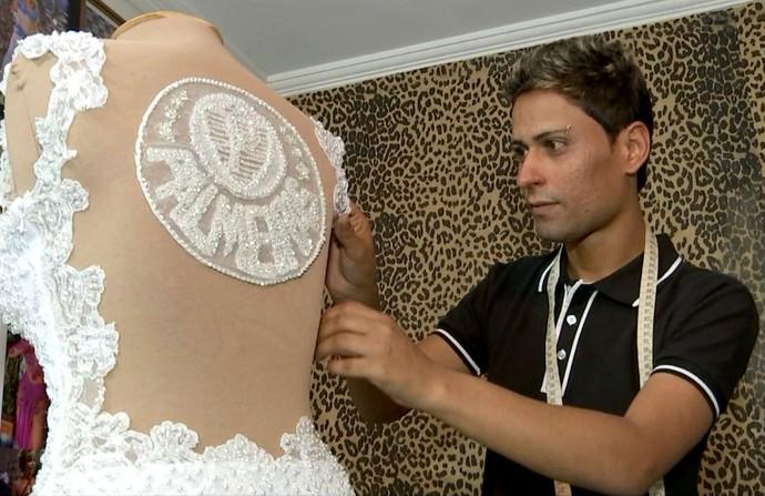Noiva palmeirense, Ricardo Miller, estilista (Foto: Reprodução / TV TEM)