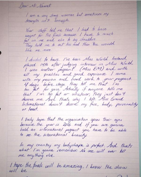 A carta divulgada pela modelo Arna Ýr Jónsdóttir (Foto: Instagram)