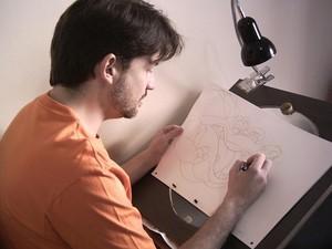 O desenhista durante a produção do longa-metragem da Disney (Foto: Arquivo pessoal)