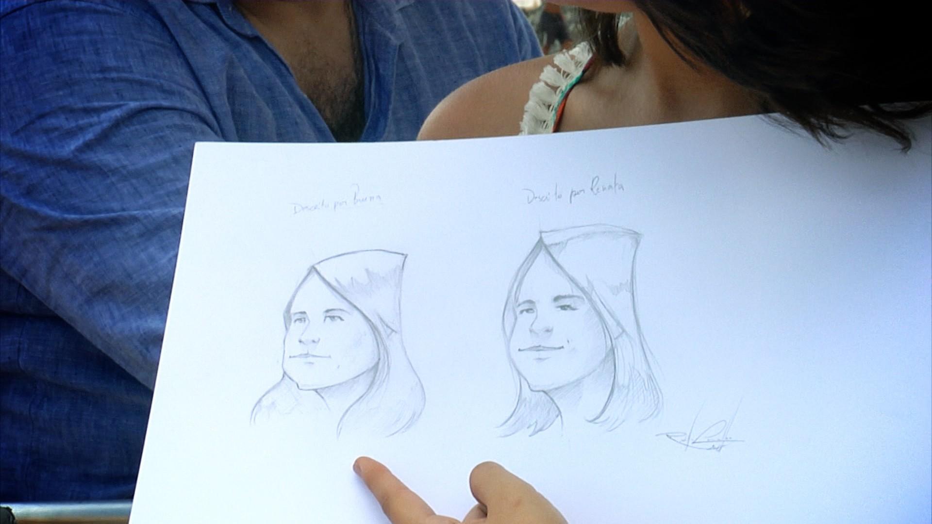 Desenhista Rodolfo Carvalho faz caricaturas dos entrevistados sob pontos de vista diferentes  (Foto: Divulgação)